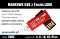 Pendrive CUBE 4 GB z grawerem - kolor czerwony (bordo)