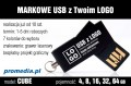 Pendrive CUBE 16 GB z grawerem - kolor czarny