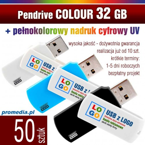 Pendrive COLOUR 32 GB z nadrukiem full kolor - komplet 50 szt.