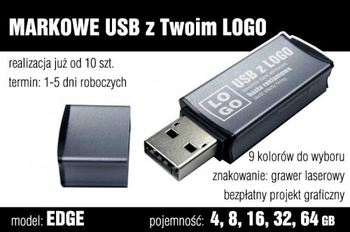 Pendrive EDGE 8 GB z grawerem - kolor szary