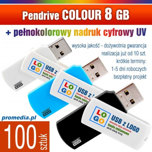 Pendrive COLOUR 8 GB z nadrukiem full kolor - komplet 100 szt.