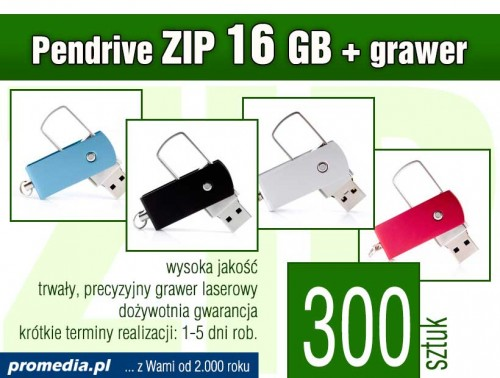 Pendrive ZIP 16 GB z grawerem - komplet 300 szt.