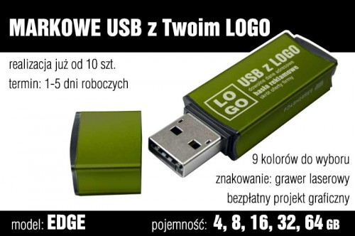 Pendrive EDGE 8 GB z grawerem - kolor ciemnozielony