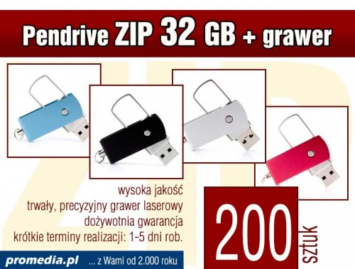 Pendrive ZIP 32 GB z grawerem - komplet 200 szt.