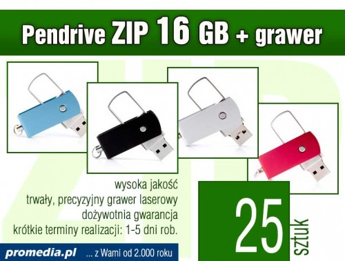 Pendrive ZIP 16 GB z grawerem - komplet 25 szt.