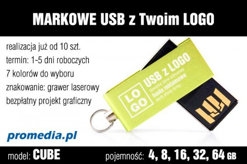 Pendrive CUBE 8 GB z grawerem - kolor zielony