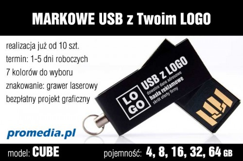 Pendrive CUBE 4 GB z grawerem - kolor czarny