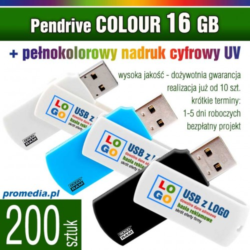 Pendrive COLOUR 16 GB z nadrukiem full kolor - komplet 200 szt.