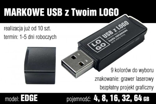 Pendrive EDGE 8 GB z grawerem - kolor czarny