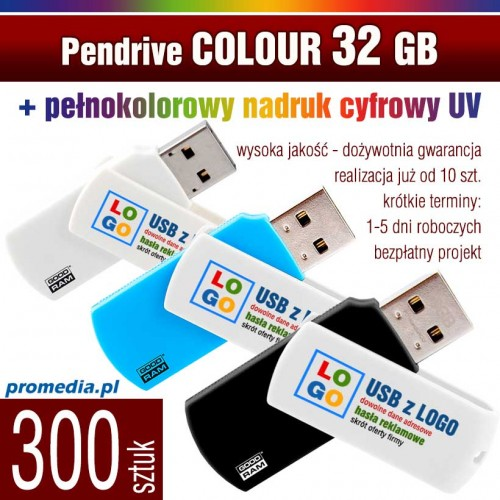 Pendrive COLOUR 32 GB z nadrukiem full kolor - komplet 300 szt.