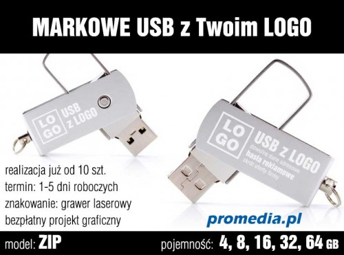 Pendrive Goodram ZIP z grawerem - kolor srebrny