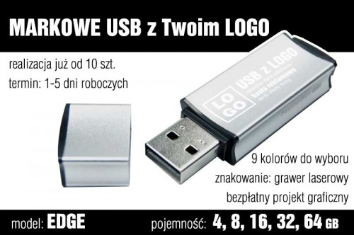 Pendrive EDGE 8 GB z grawerem - kolor srebrny