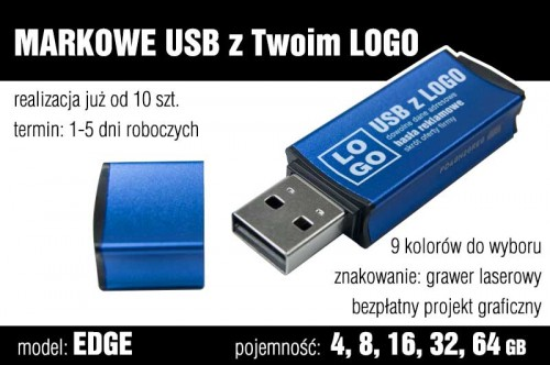 Pendrive EDGE 32 GB z grawerem - kolor niebieski