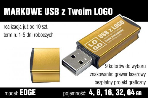 Pendrive EDGE 8 GB z grawerem - kolor żółty (złoty)
