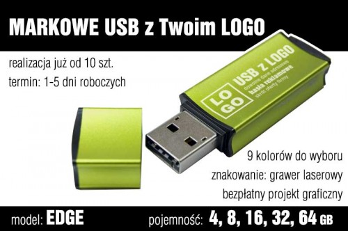 Pendrive EDGE 8 GB z grawerem - kolor zielony